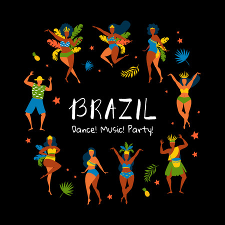 Vector characters. Set of brazilian samba dancers. Vector illustration in retro style with carnival women and men. Design element for carnival concept.