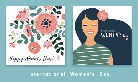 8 march, International Women's Day. Vector template with lettering design. Set of vector illustration.
