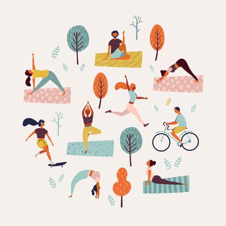 Día mundial de la salud. Estilo de vida saludable. Conjunto de ilustración vectorial con patines, correr, bicicleta, caminar, clase de yoga. Ilustración de vector