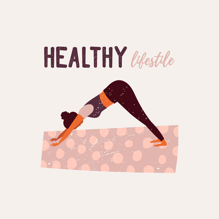 Healthy lifestyle. World Health Day. Vector illustration with yoga girl sitting in pose doing breathing exercise.