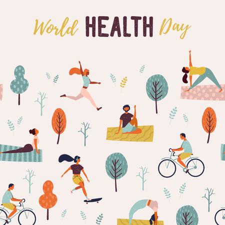 Wereldgezondheidsdag. Gezonde levensstijl. Set van vectorillustratie met schaatsen, hardlopen, fiets, lopen, yogales.