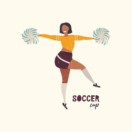 Vector illustration with cheerleader dancer. Soccer cup. Flat illustration.
