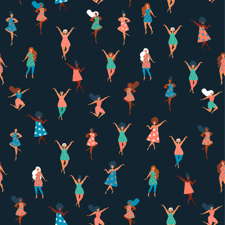 International Women's Day. Vector seamless pattern with pink background, dancing women. Vector illustration.