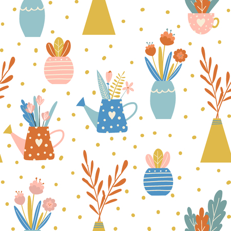 Vector seamless pattern withl vegetables and flowers in the garden. Hand drawn design for fabric in scandinavian style.