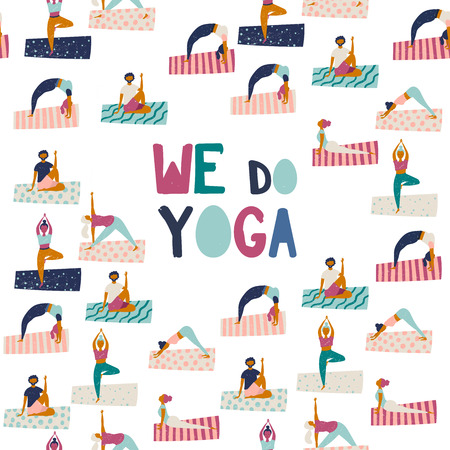 Healthy lifestyle. World Health Day. Vector illustration with yoga girl sitting in pose doing breathing exercise. Vector Illustration