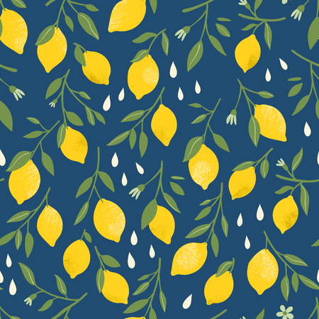 Vector seamless pattern with yellow lemons. Fruit repeated background. Vector bright print for fabric or wallpaper. Reklamní fotografie - 111903592