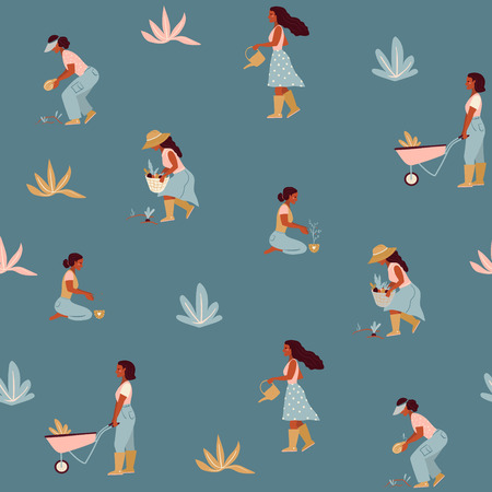 Vector seamless pattern with farmer girls growing vegetables and flowers in the garden. Flat design.