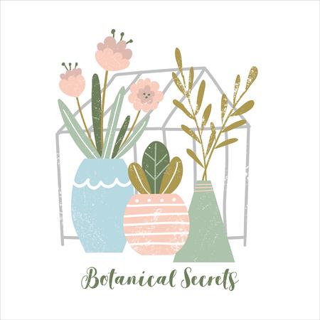 Vector seasonal greeting card. Spring garden with text. Vector Illustration