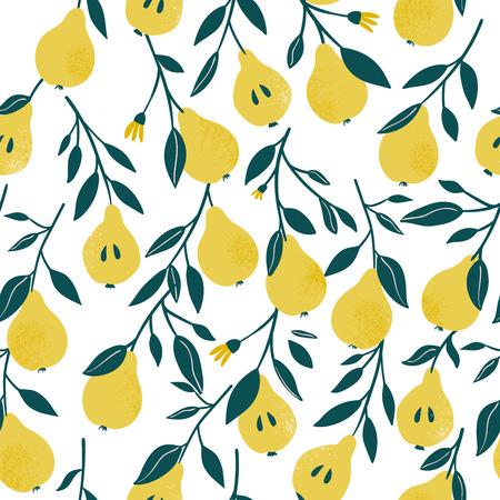 Ð¡ute vector de patrones sin fisuras con pera amarilla. Fondo de frutas. Vector de impresión brillante para tela o papel tapiz. Ilustración de vector