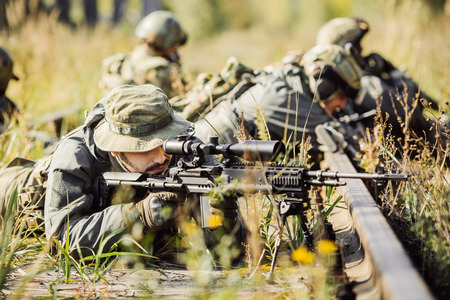 ranger shoot at a target from the sniper rifle
