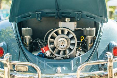 engine compartment: Vintage old car engine