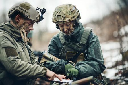 rangers on the Outdoor of looking at the map