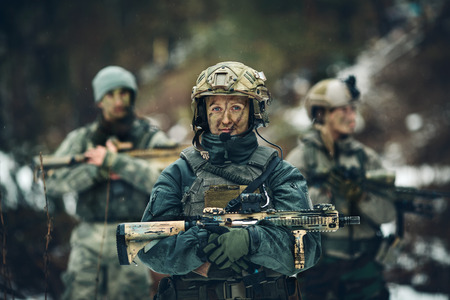 young woman soldier member of ranger squad