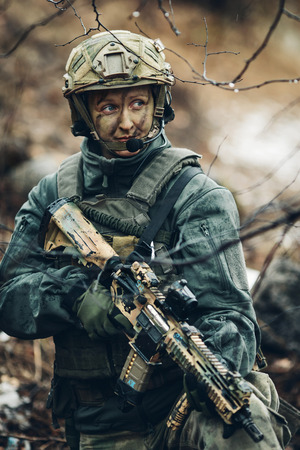 us soldier: young woman soldier member of ranger squad