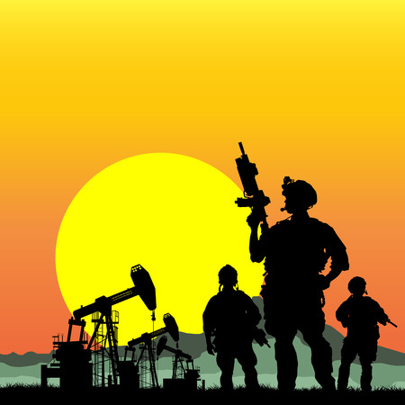 soldiers: US soldiers with oil rigs on the background