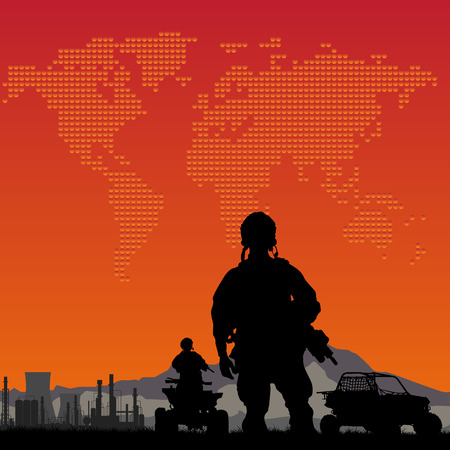 power rangers: soldiers with oil plant on the sunset and on world map background