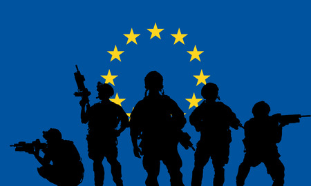 militant: rangers team with rifle on a European Union flag background