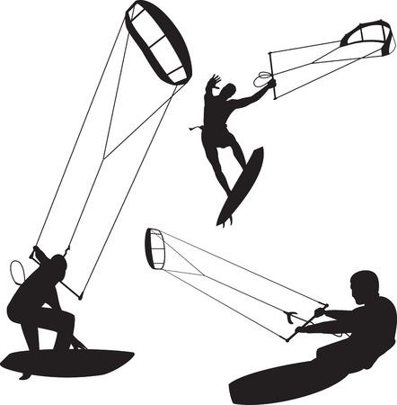 Sammlung von Vektor-Kitesurfer in verschiedenen Posen