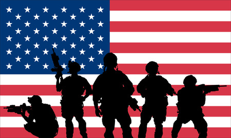 Rangers equipo con rifle sobre un fondo de la bandera de EE.UU.