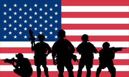 soldat silhouette: Rangers l'�quipe � la carabine sur un fond de drapeau am�ricain