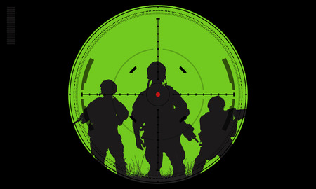 soldier: Vector silhouette of a soldier with a gun in the optical sight Stock Photo