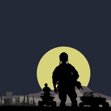 noche y luna: Soldados de Estados Unidos con la planta de aceite en el fondo de la noche