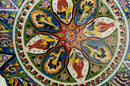 Close up of vintage  dish with traditional oriental ornament 写真素材