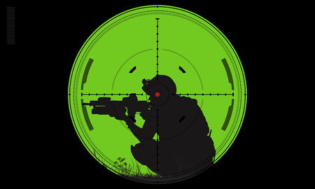 Vector silhouette of a soldier with a gun in the optical sight Standard-Bild