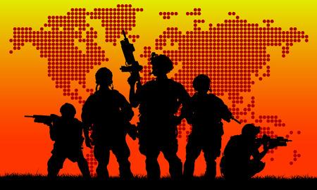 soldado: Silueta de soldado militar o funcionario con armas al atardecer. tiro, la celebración de arma, el cielo de colores, fondo