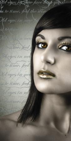 Portrait whith golden lips photo