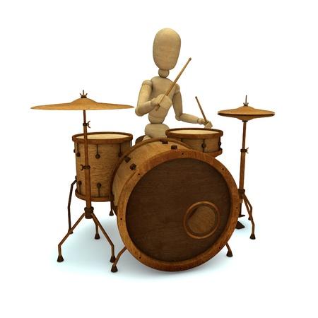 indie: Dummy plays drum Stock Photo