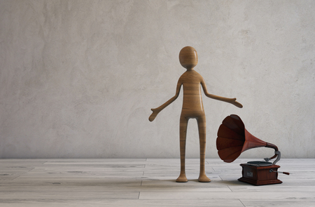 entertainer: Singin and listening music from a retro styled gramophone. 3D illustration