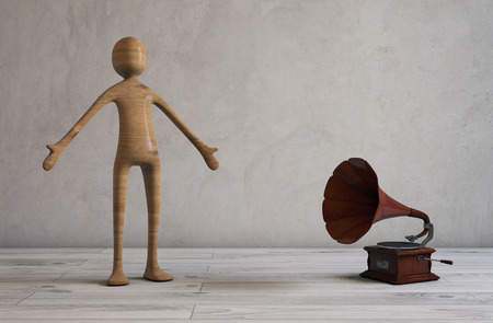 the vocalist: Singing in an empty modern room with a retro styled gramophone. 3D rendering