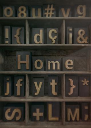 Home - Wood block letters. 3d render Archivio Fotografico