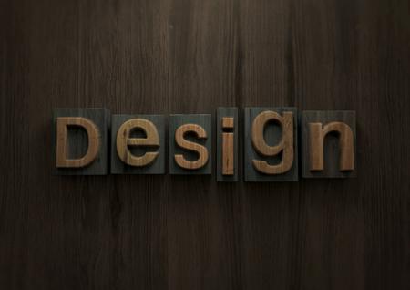 Design - Wood letterpress block. 3d illustration Archivio Fotografico