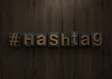 Hashtag - Wood letterpress block. 3d illustration Archivio Fotografico