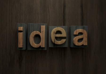 Idea - Wood letterpress block. 3d illustration