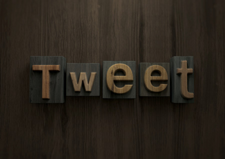 Tweet - Wood letterpress block. 3d illustration