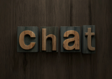 Chat - Wood letterpress block. 3d illustration