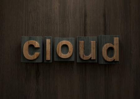 Cloud - Wood letterpress block. 3d illustration