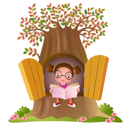 Illustration of a young girl reading  a book at the big tree