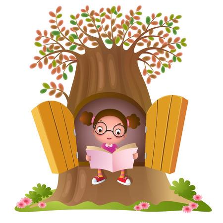 Vector children: Tác giả của một cô gái trẻ đọc một cuốn sách ở cây lớn Hình minh hoạ