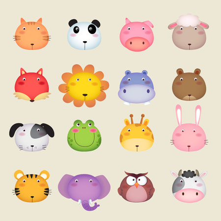 cute: Illustration of a cute animal head