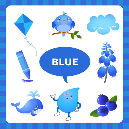 primary colors: Learn The Color Blue  things that are blue color Illustration