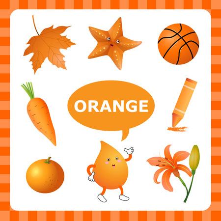 preschool teacher: Learn The Color Orange  things that are orange color Illustration