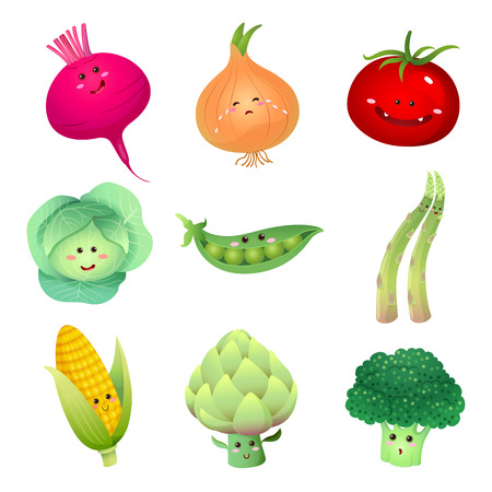 cute illustration: A vector illustration of a set of vegetables characters  set 2
