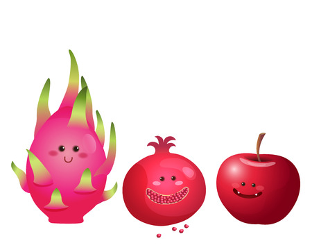A vector illustration of a set of fruits characters apple dragon fruit pomegranate