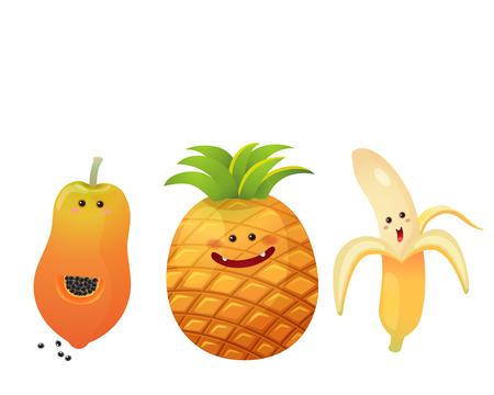 papaya: A vector illustration of a set of fruits characters  peeled banana pine apple papaya