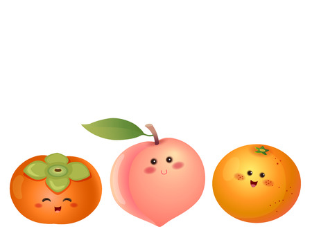 복숭아, 오렌지, 감 과일 문자의 집합의 벡터 일러스트 레이 션