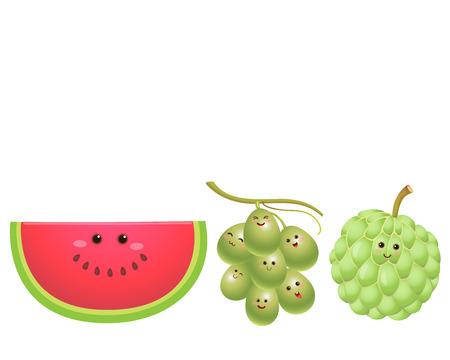 custard: A vector illustration of a set of fruits characters   watermelon grapecustard apple Illustration